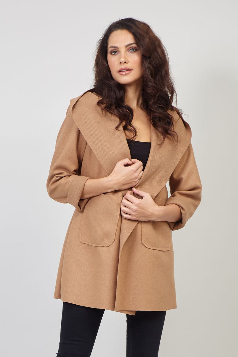 Brown | Lightweight Slouchy Hooded Coat