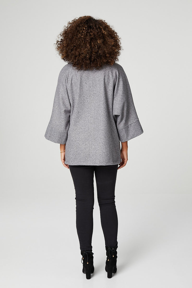 Grey | Oversized Raglan Sleeve Coat