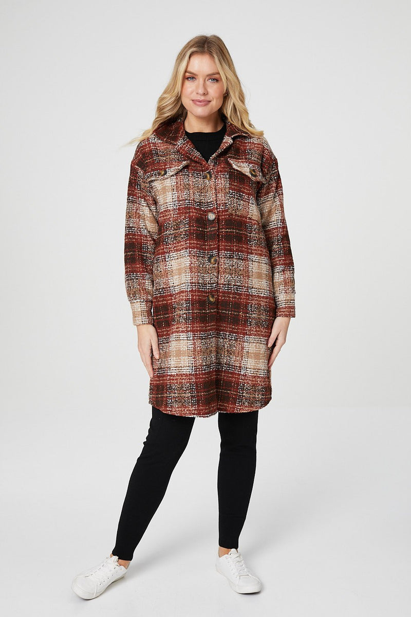 Brown | Checked Button Front Longline Shacket