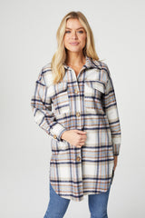 Blue | Checked Button Front Overshirt Coat