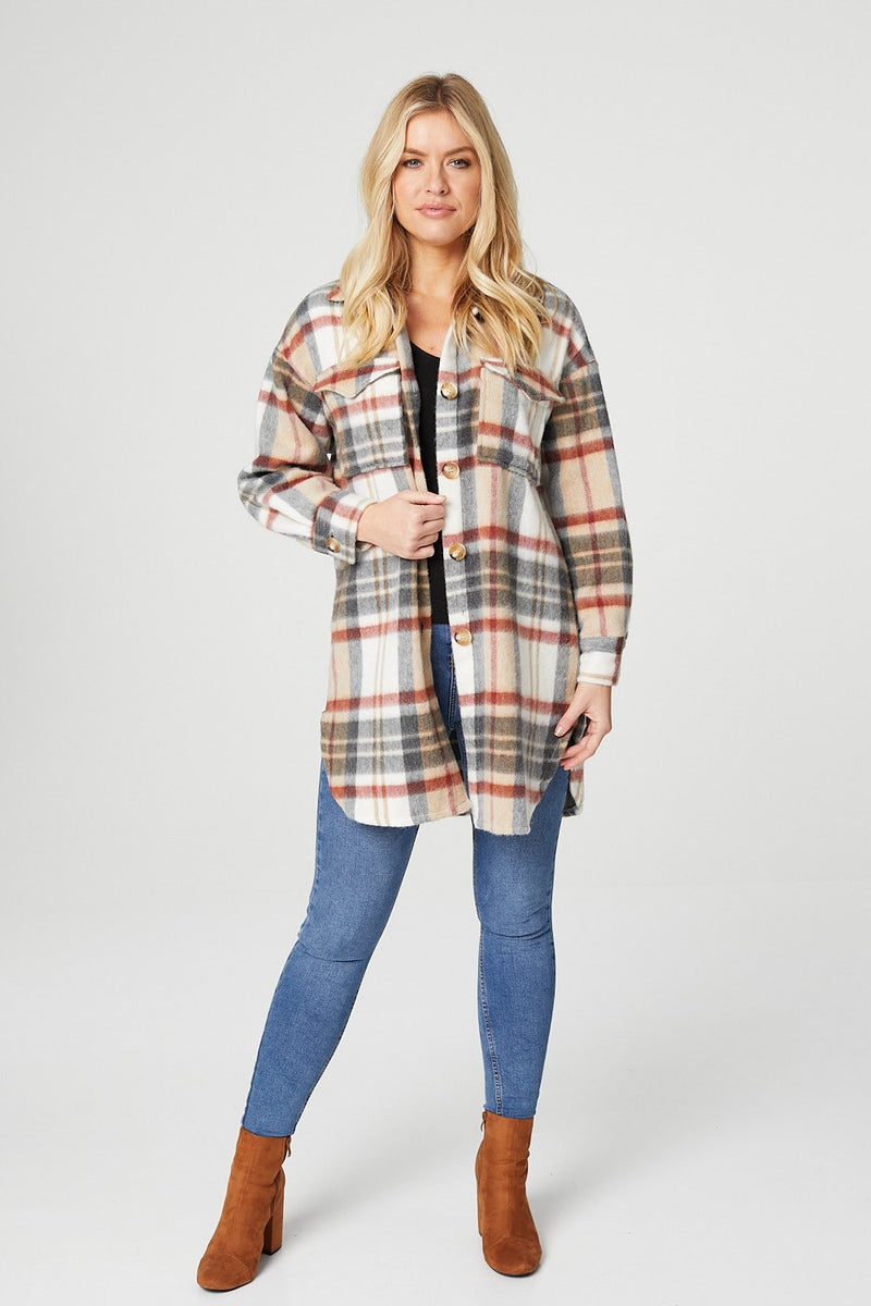 Beige | Checked Button Front Shacket