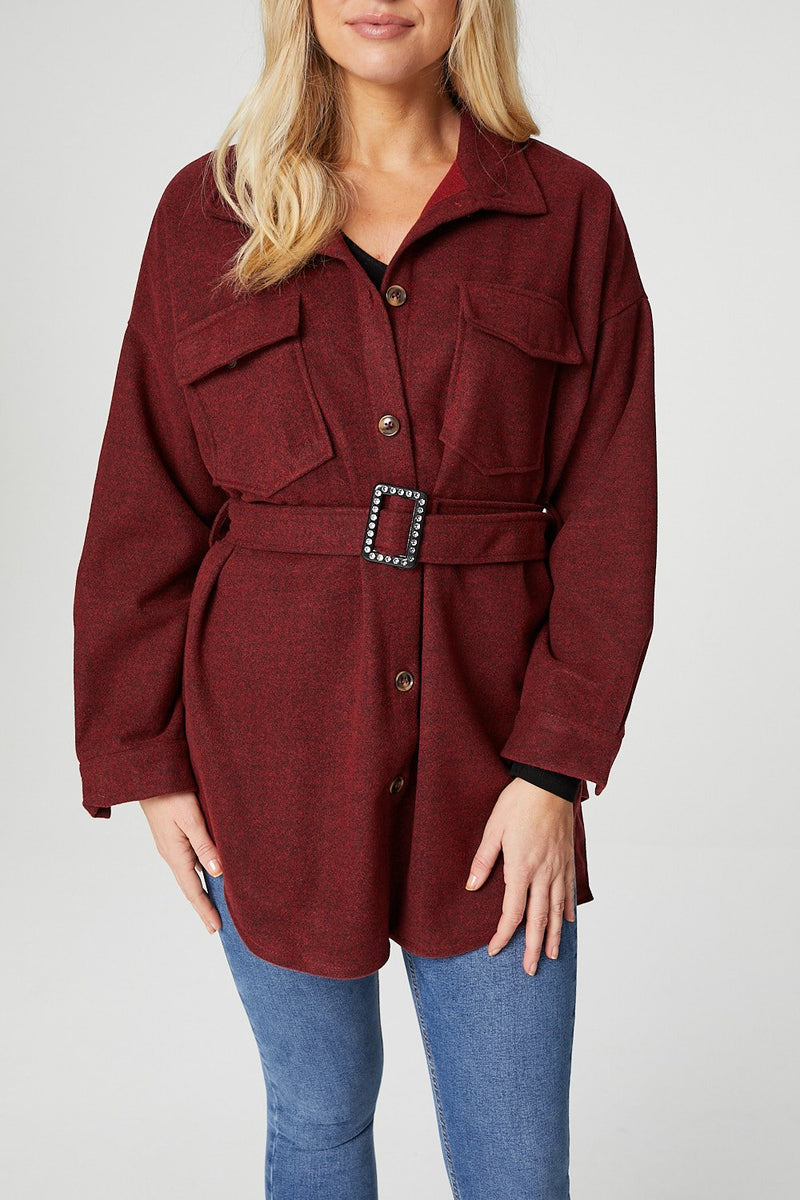 Red | Button Front Overshirt with Belt