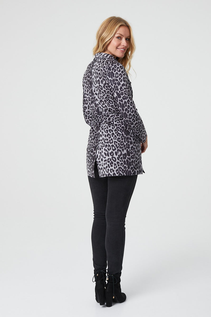 Grey | Animal Print Tie Waist Duster Coat