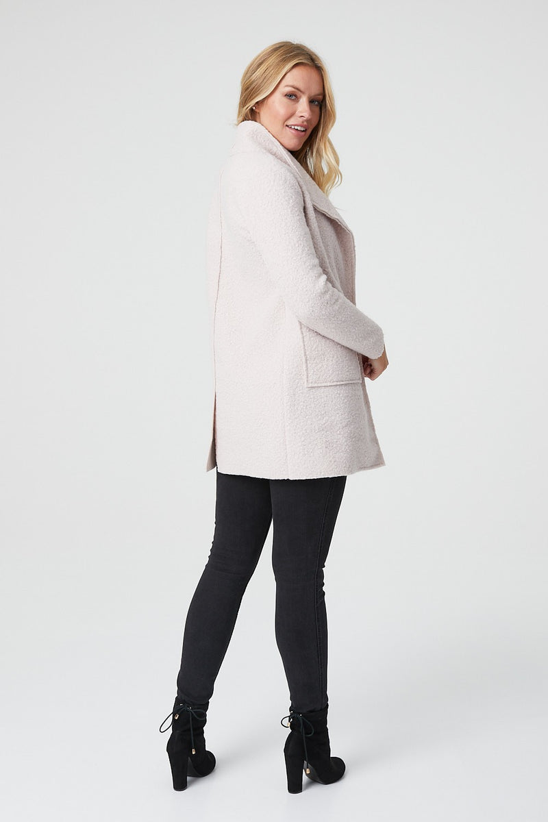 Cream | Textured Long Sleeve Pocket Front Coat