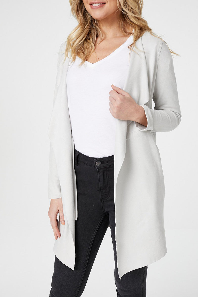 Light Grey | Waterfall Faux Suede Duster Coat