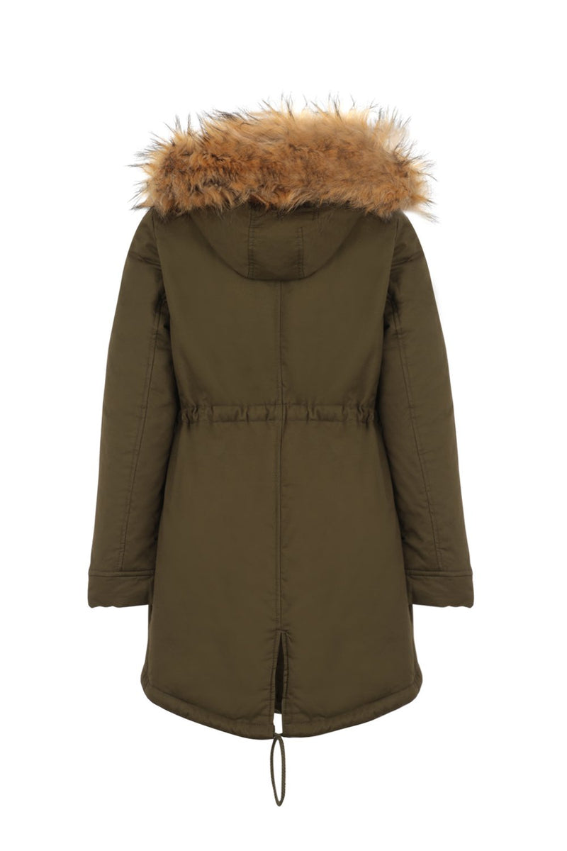 Green | Faux Fur Hood Parka