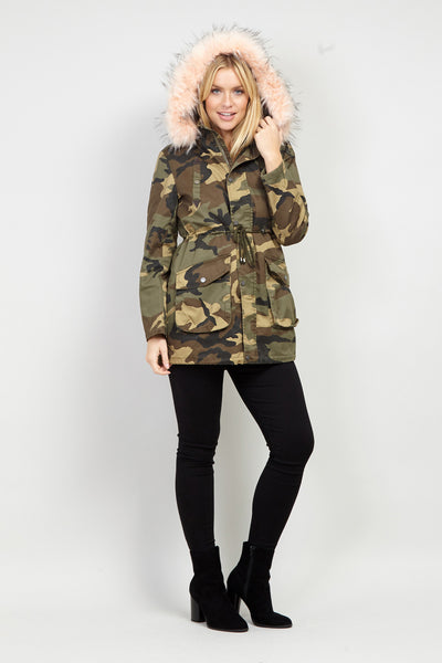 c3ea86fae8e2 Camo Faux Fur Coat - Izabel London