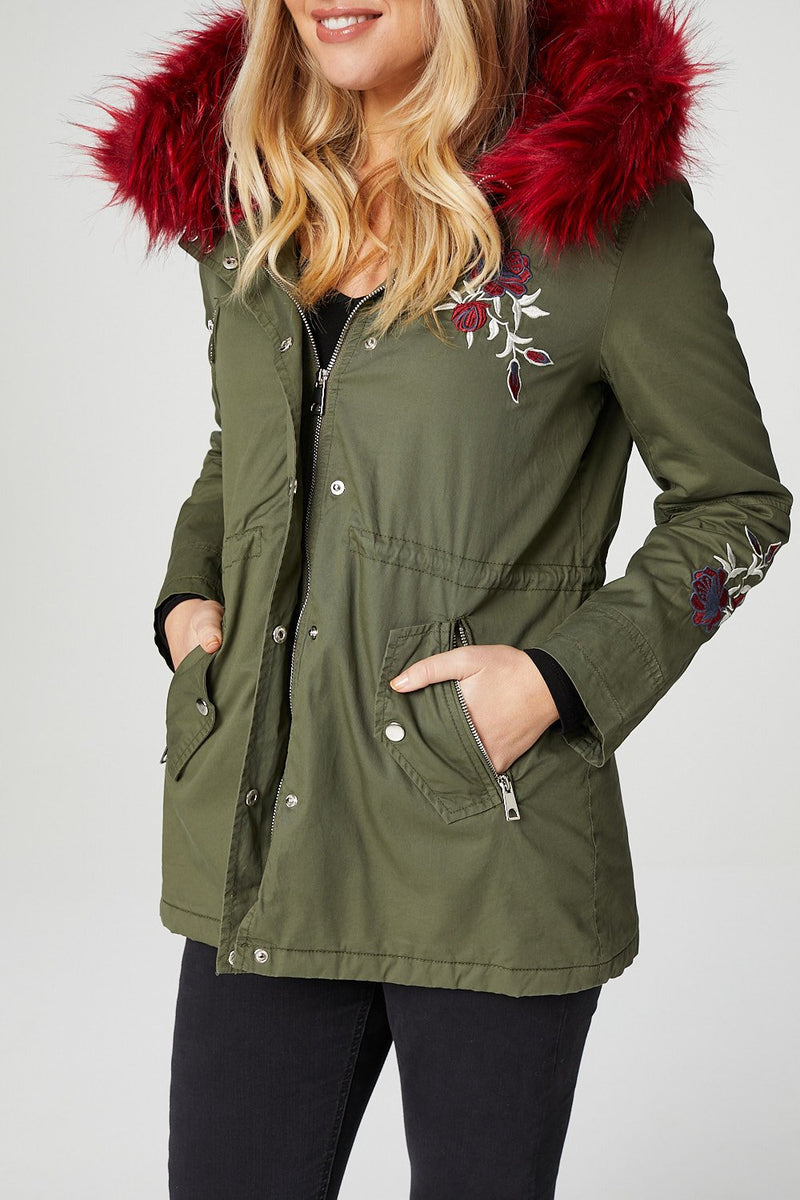 Khaki | Embroidered Parka Jacket