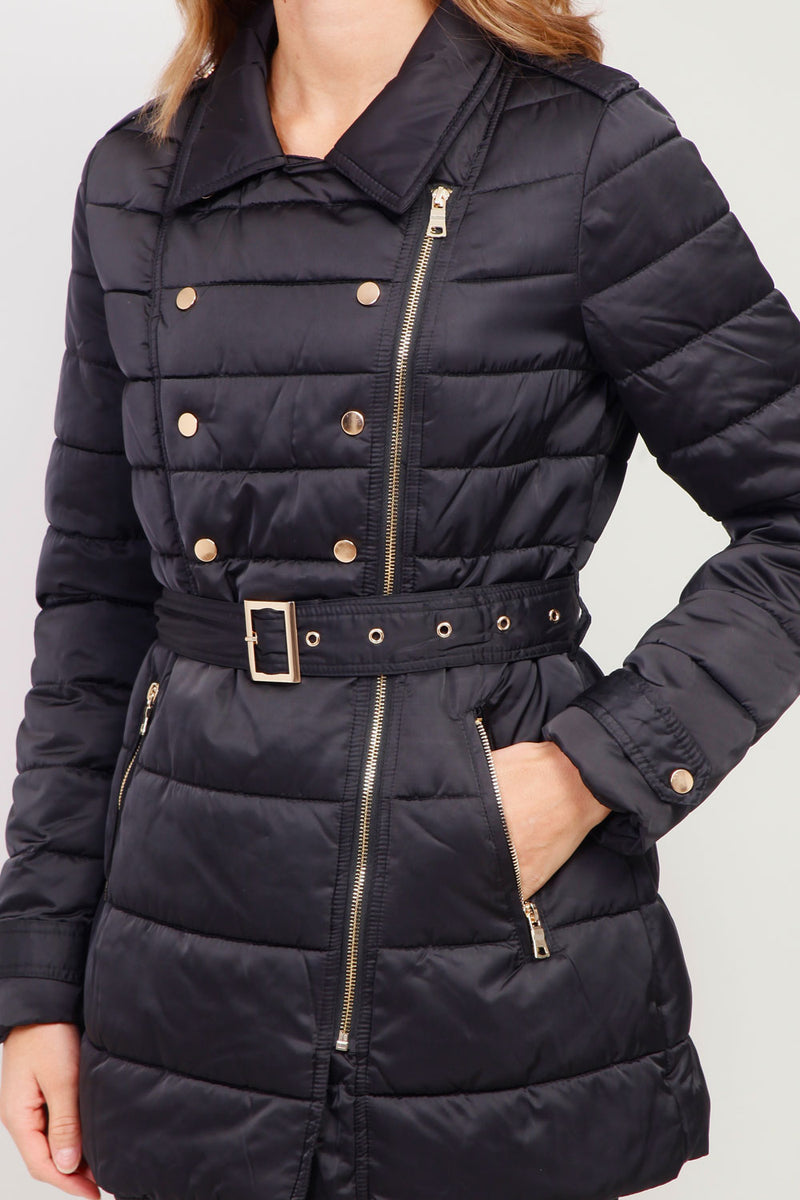 Black | Padded Belted Coat with Collar
