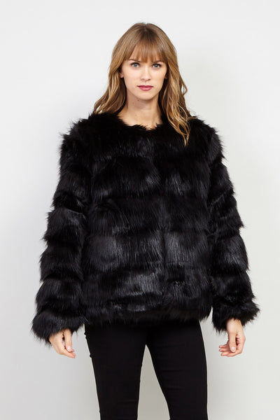 Open Front Faux Fur Coat - Izabel London