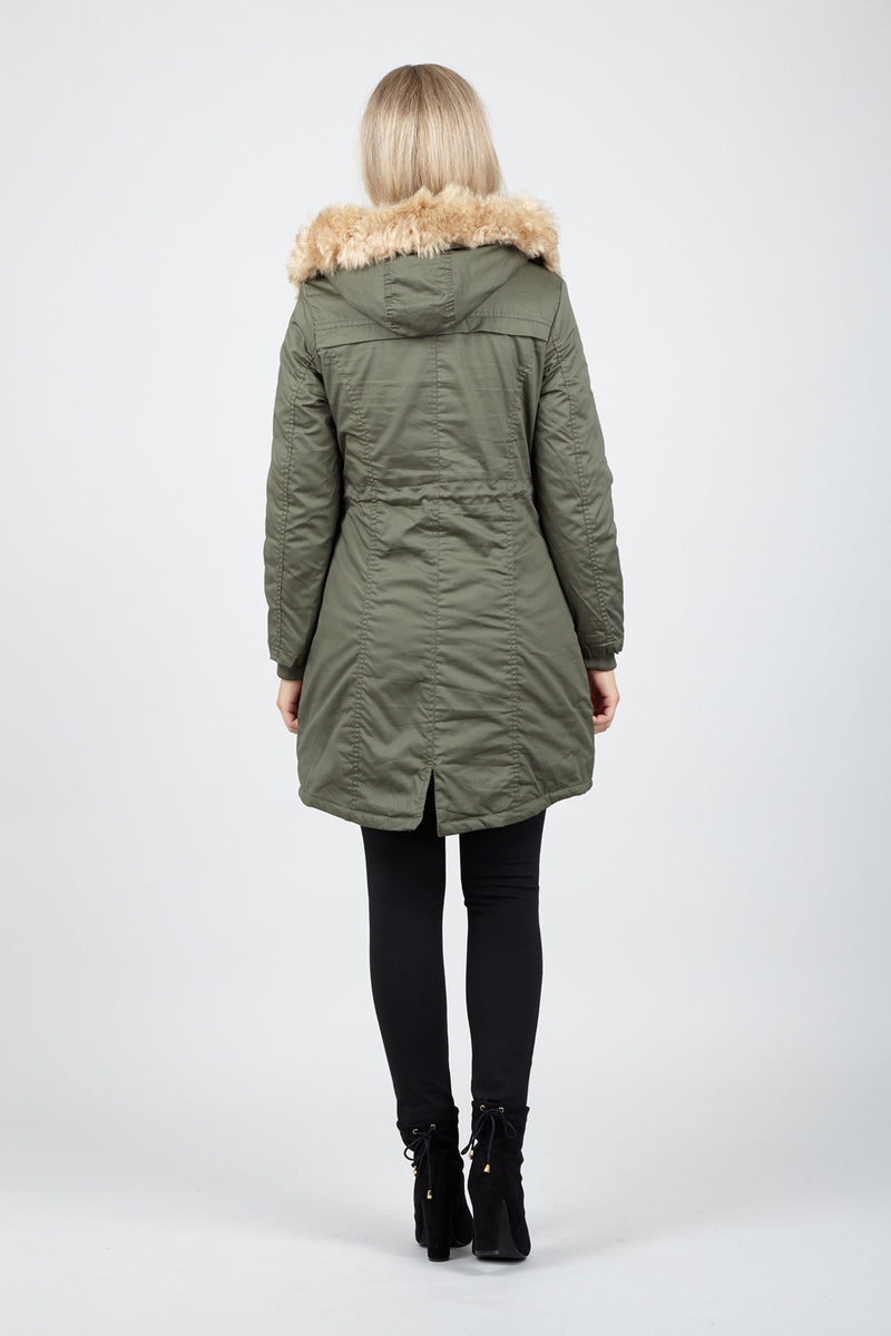 Fur Trim Hood Parka - Izabel London