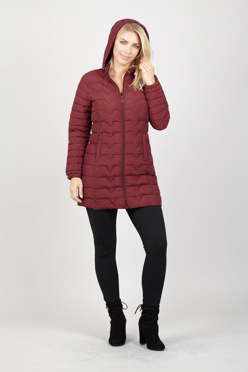 Red | Hooded Quilted Coat