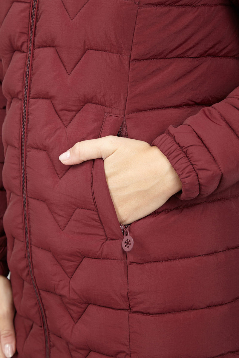 Burgundy | Hooded Quilted Coat