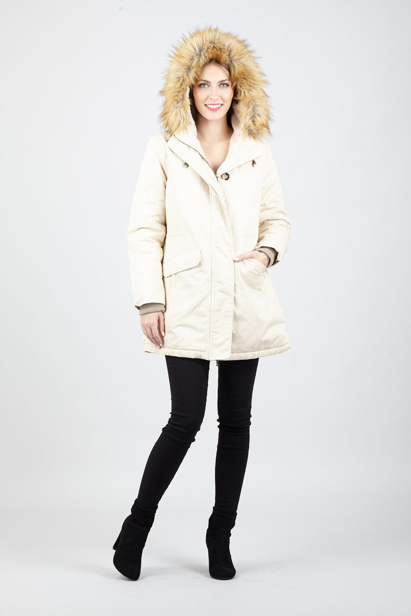 Beige | Hooded Fur Trim Parka