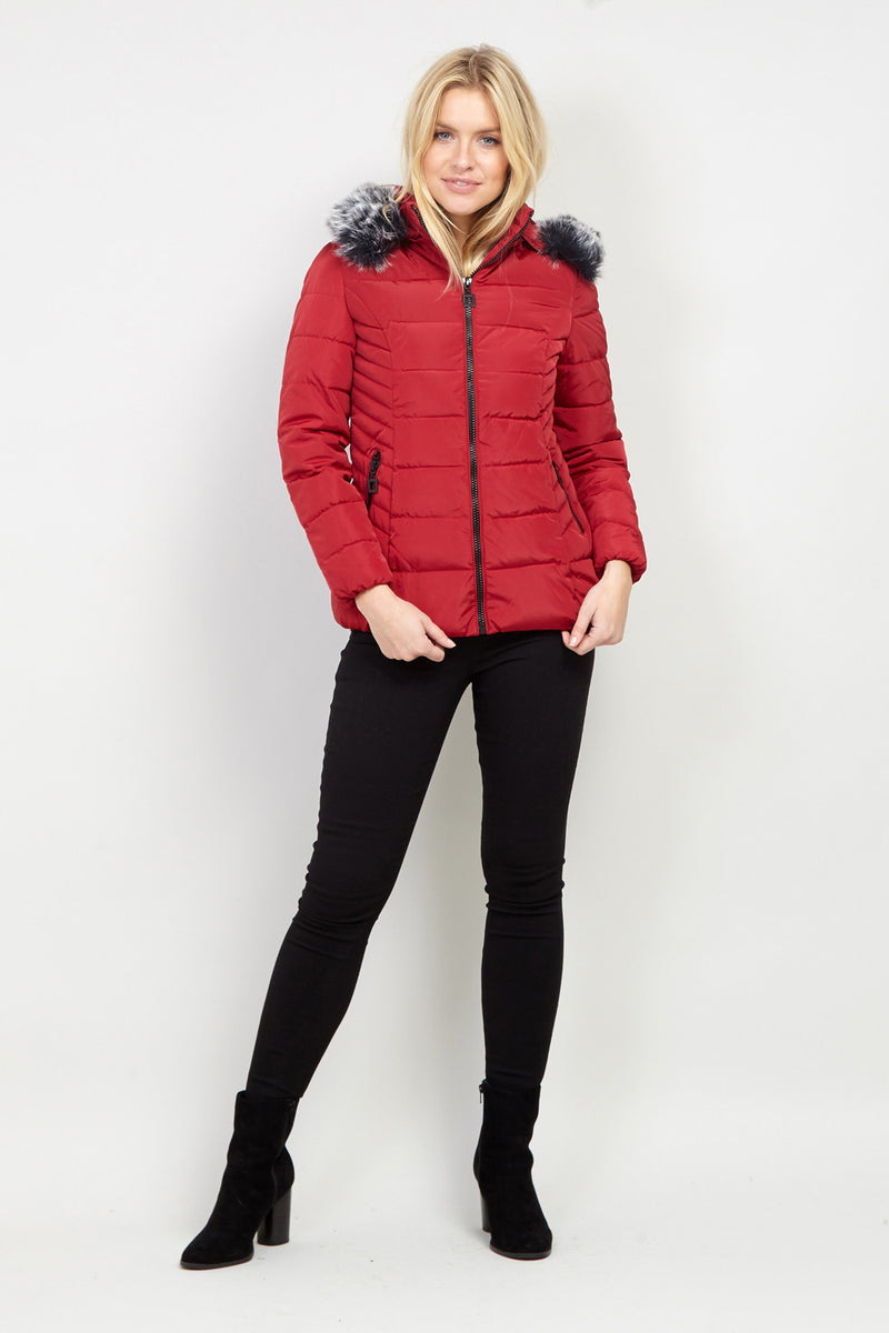 Red | Hooded Padded Coat