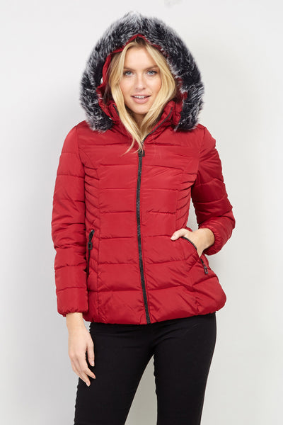 Hooded Padded Coat - Izabel London
