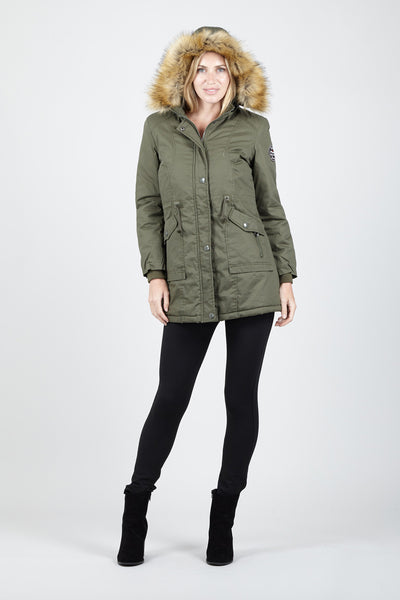 Faux Fur Trim Parka Coat - Izabel London