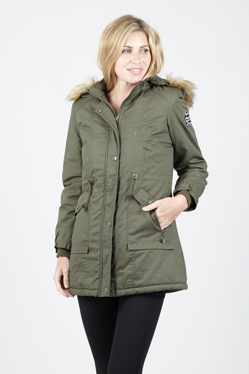 Green | Faux Fur Trim Parka Coat