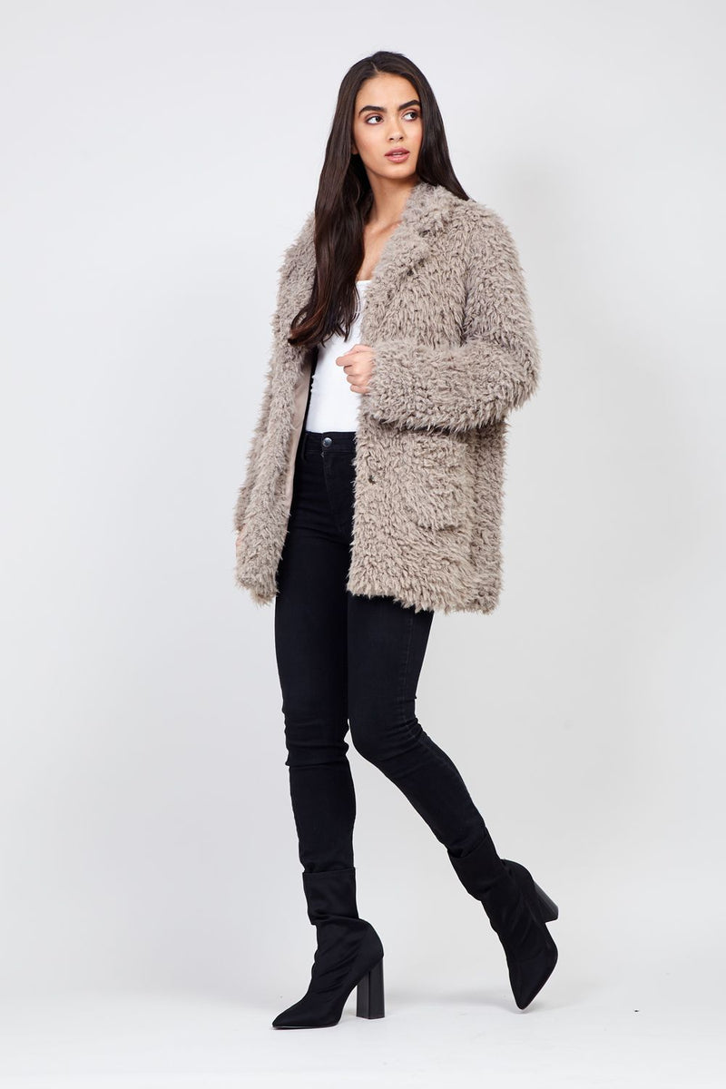 Brown | Faux Fur Single Breasted Coat