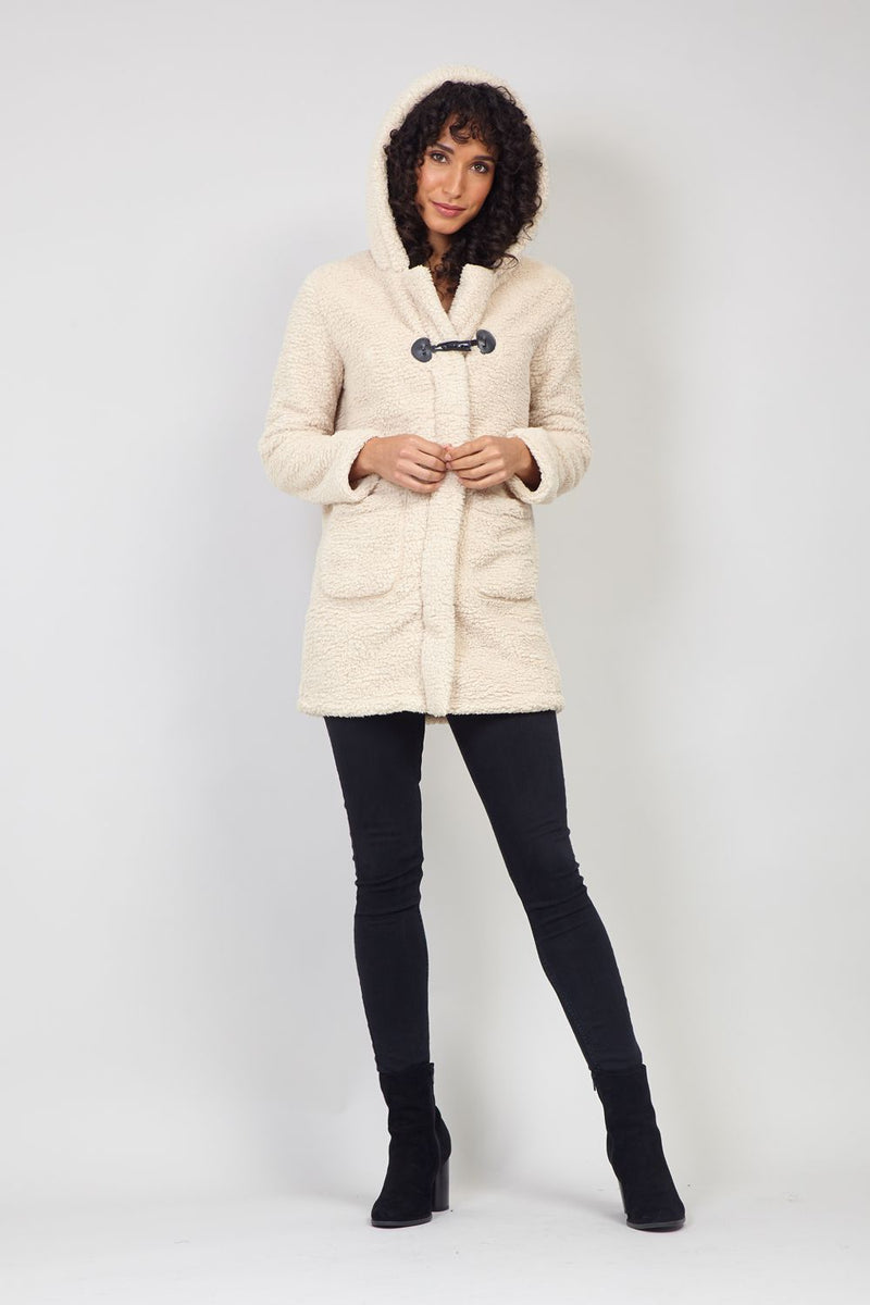 Beige | Teddy Faux Fur Duffle Coat