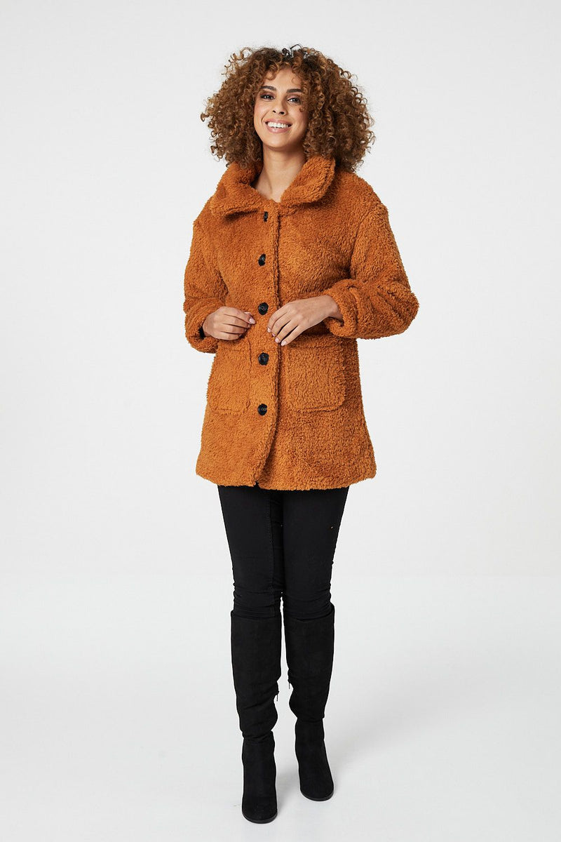 Mustard | Teddy Faux Fur Button Front Coat