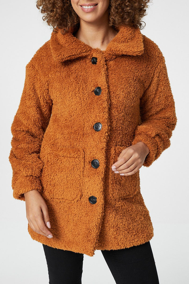 Yellow | Teddy Faux Fur Button Front Coat