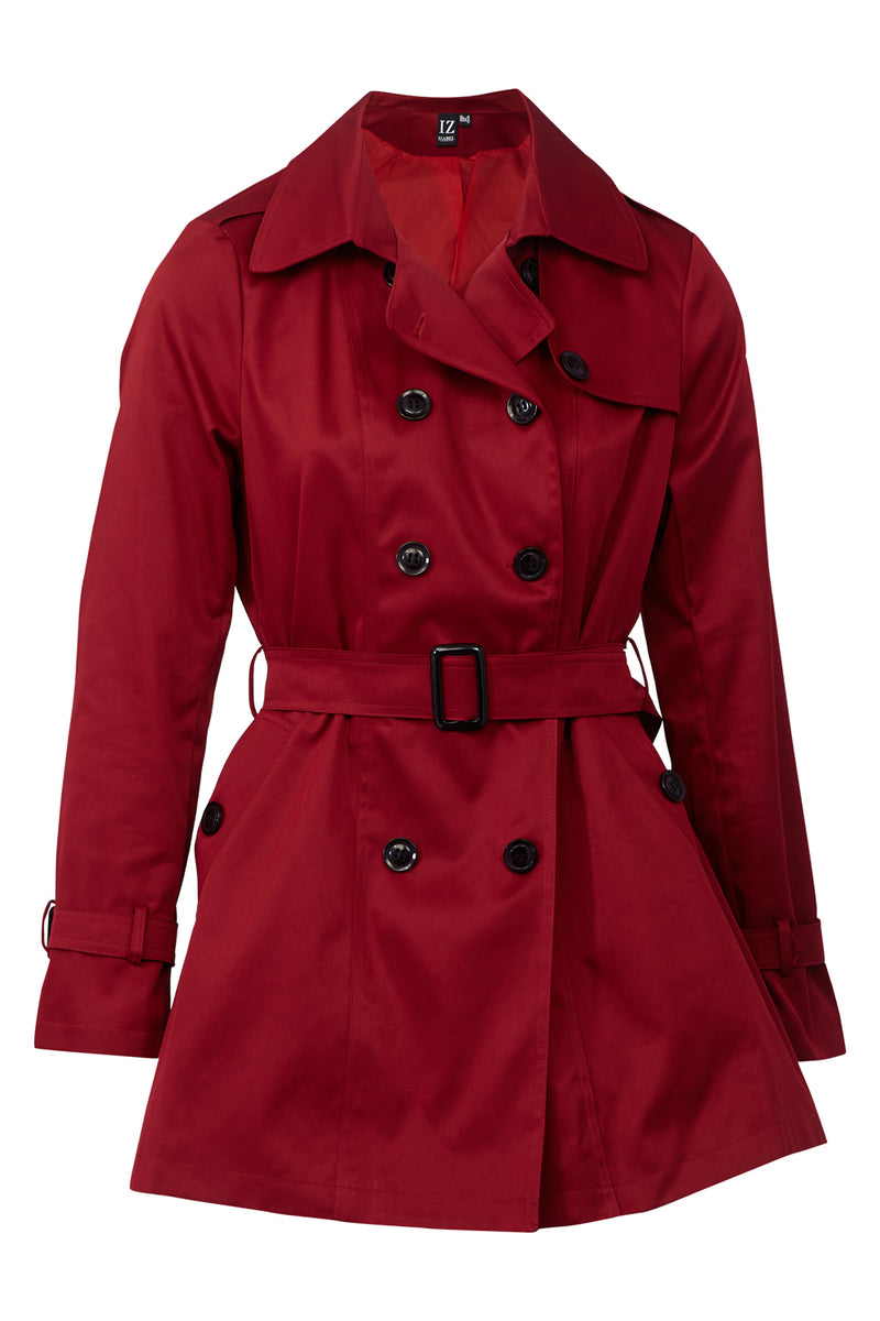 Red | Short Belted Trench Coat