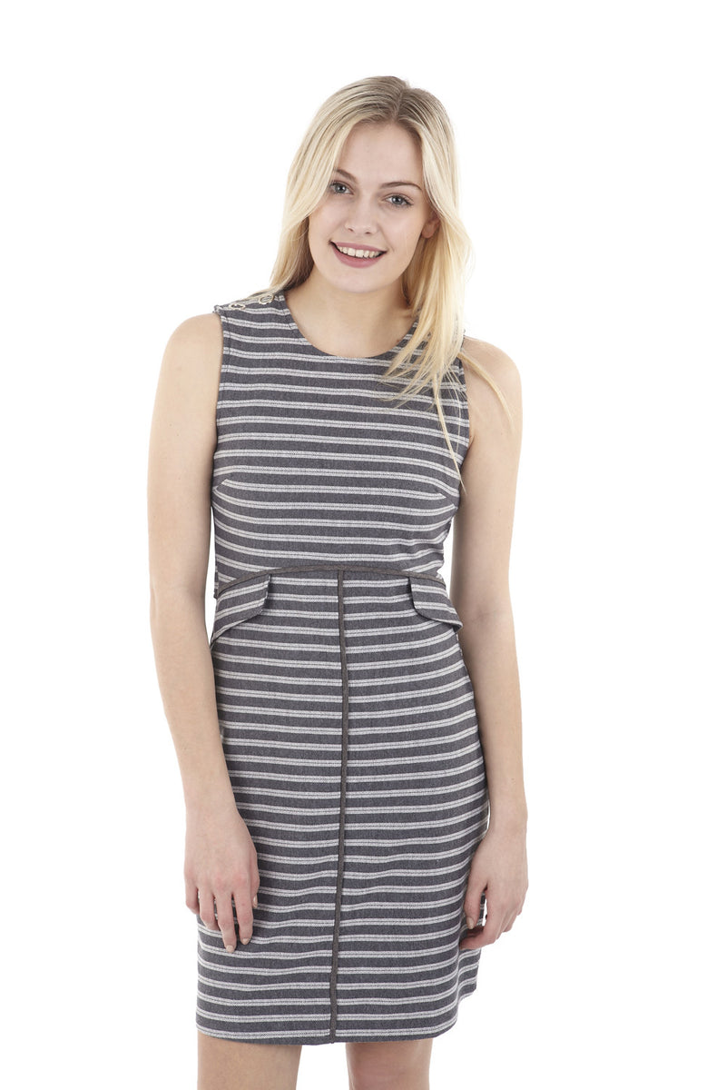 Grey | Striped Faux Split Dress | Izabel London