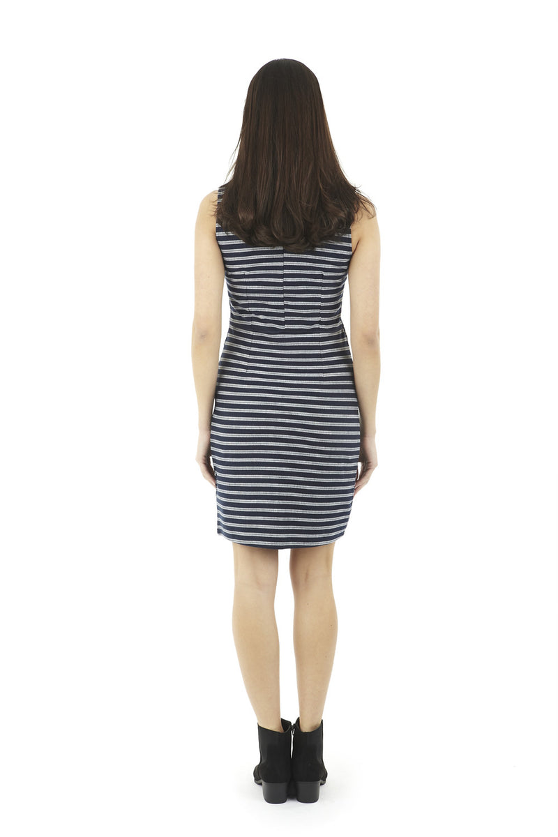 Navy | Striped Faux Split Dress
