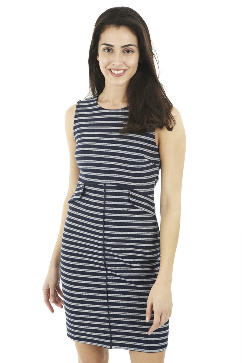Navy | Striped Faux Split Dress | Izabel London