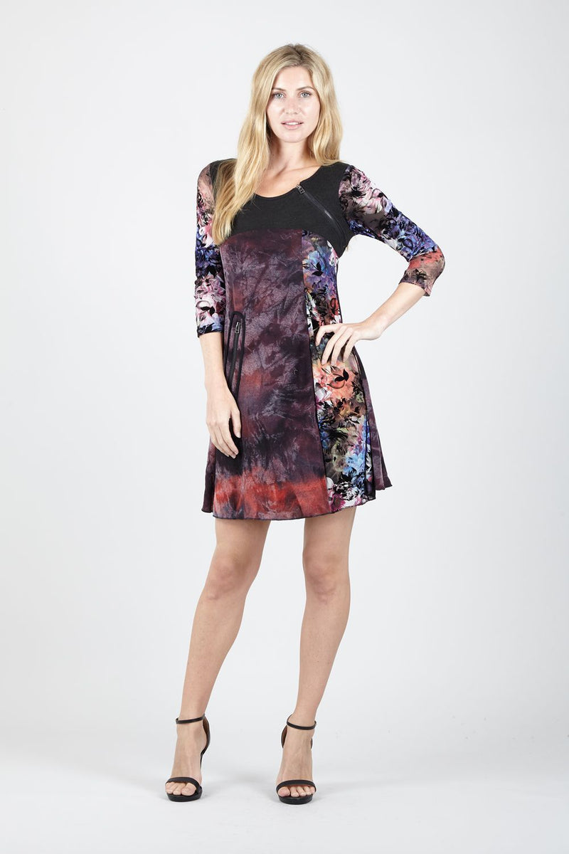 Multi Purple | Blurred Floral Skater Dress