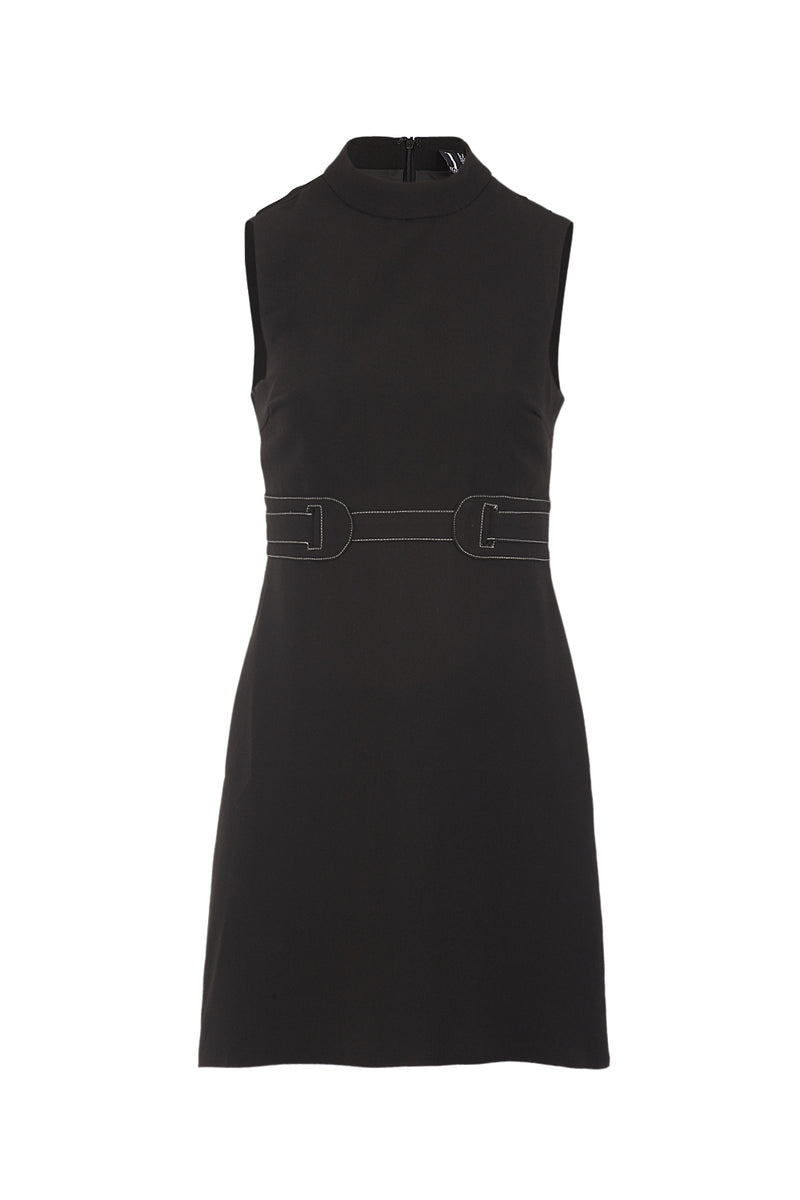 Black | Stitch Belt Shift Dress