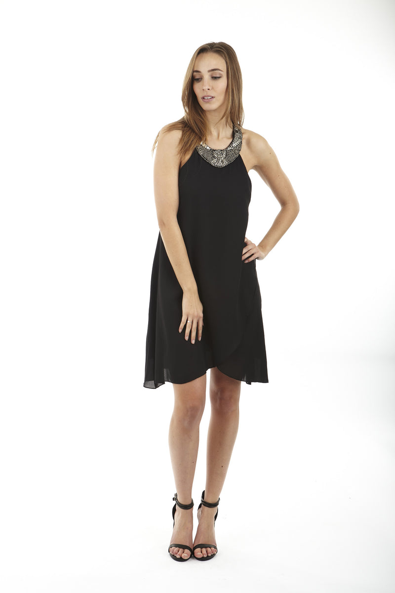 Black | Diamante Back Reveal Dress