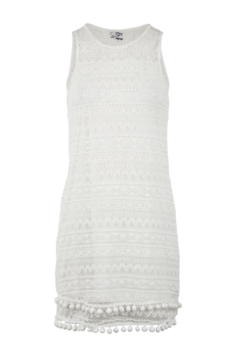 White | Aztec & Pom Pom Summer Dress