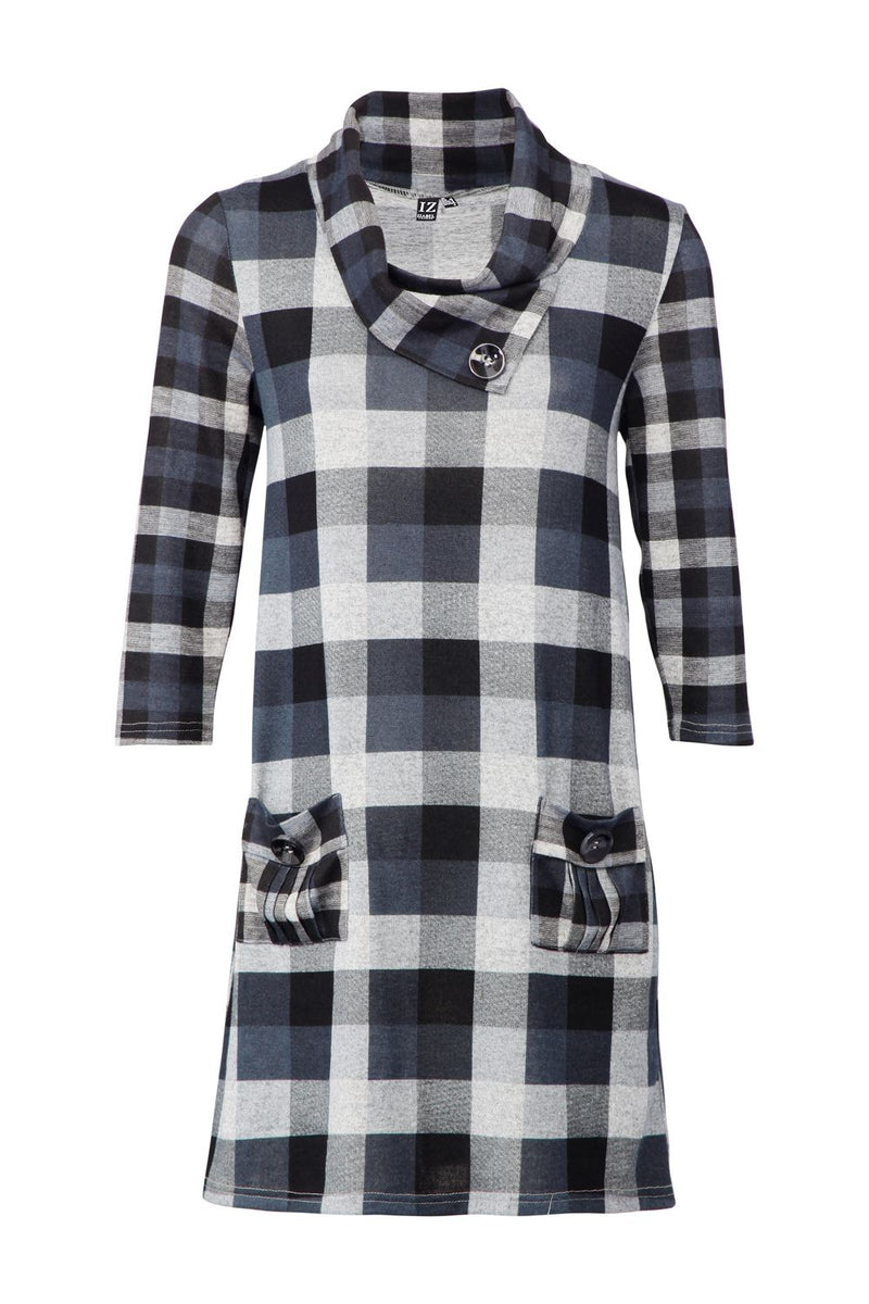 Grey | Checked Knitted Tunic Dress