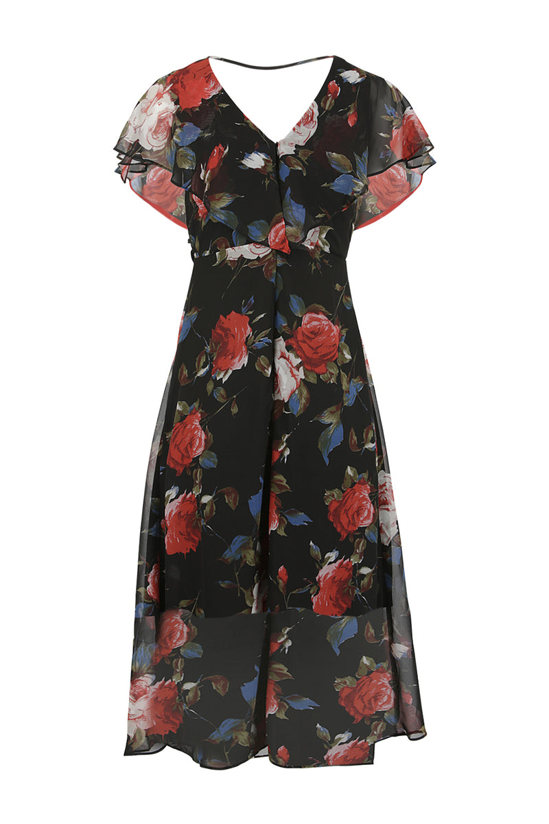 Black | Floral & Frill Midi Dress