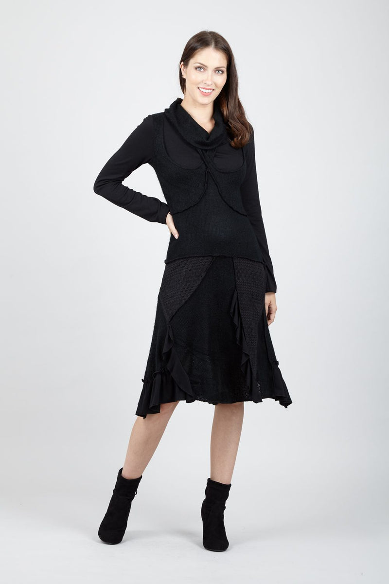 Black | Ruched Knitted Dress