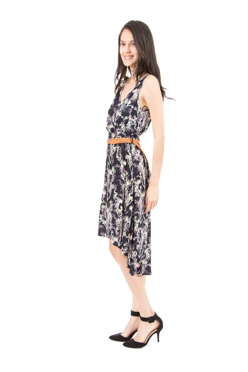 Navy | Dipped Hem Print Dress