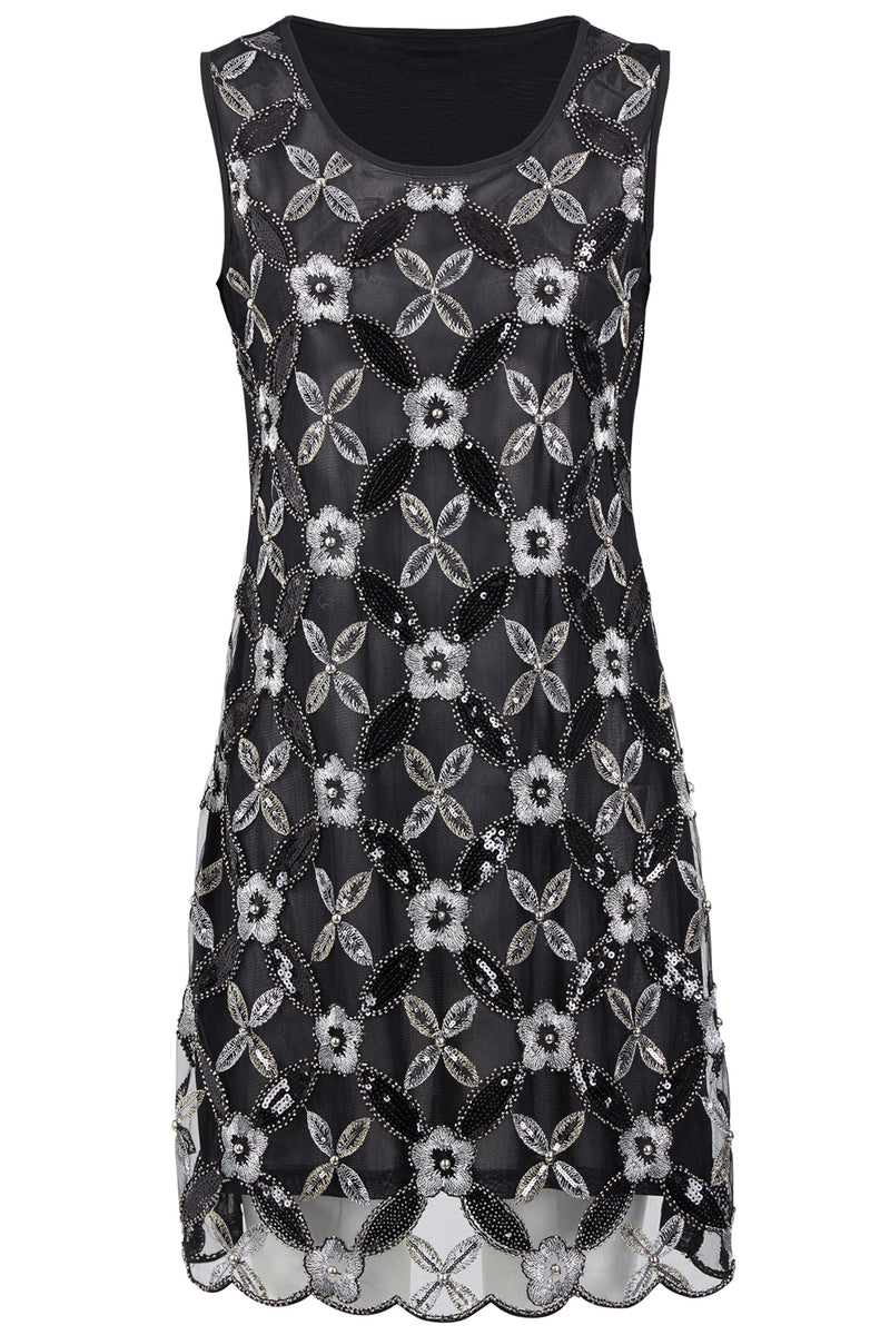 Floral Sequin Shift Dress - Izabel London
