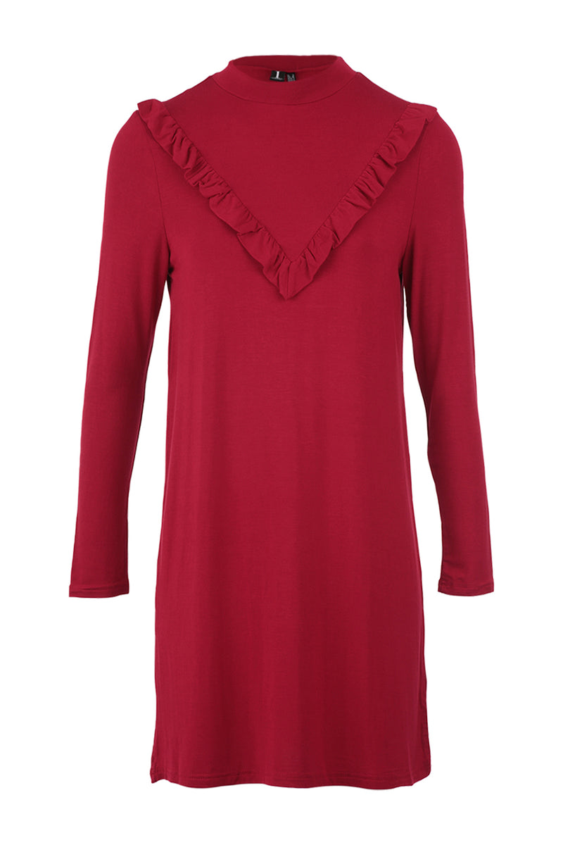 Red | Frill Detail Shift Dress