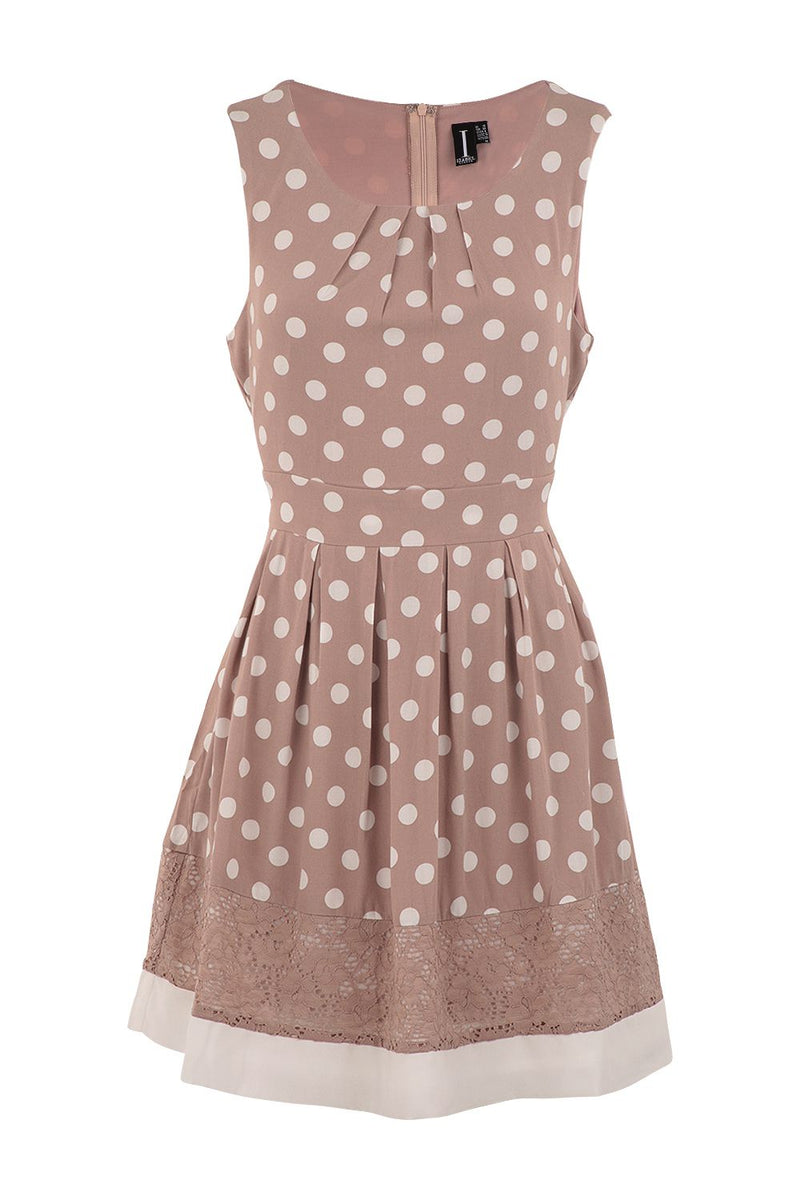 Nude | Polka Dot Lace Trim Dress