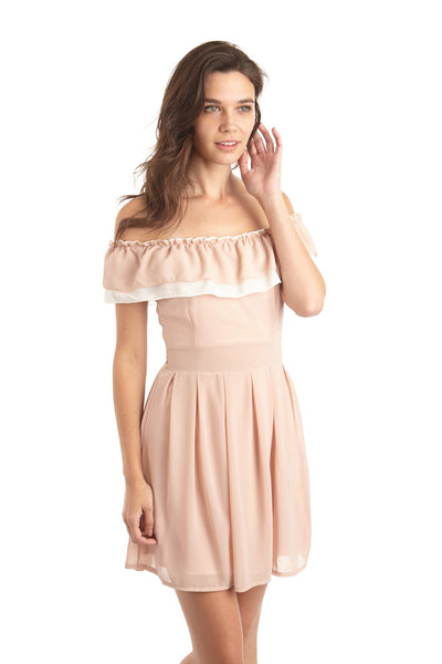 Ruffle Bardot Dress - Izabel London