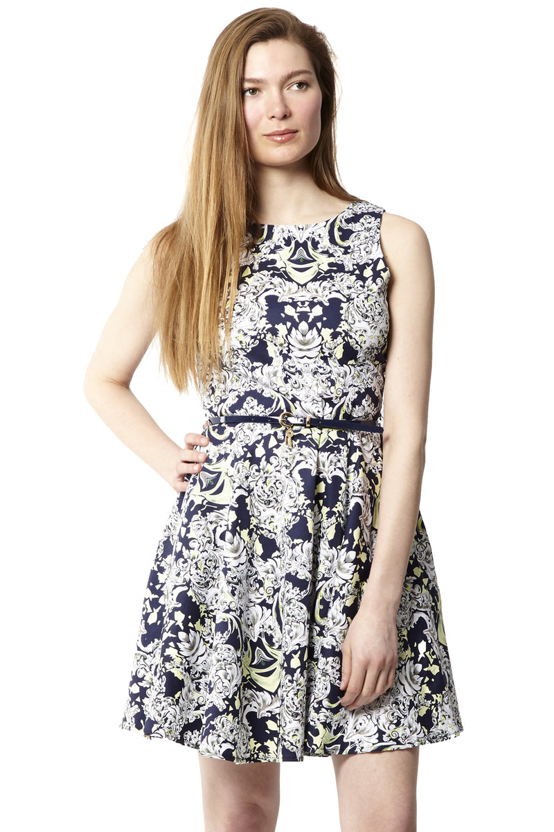 Navy | Baroque Print Skater Dress