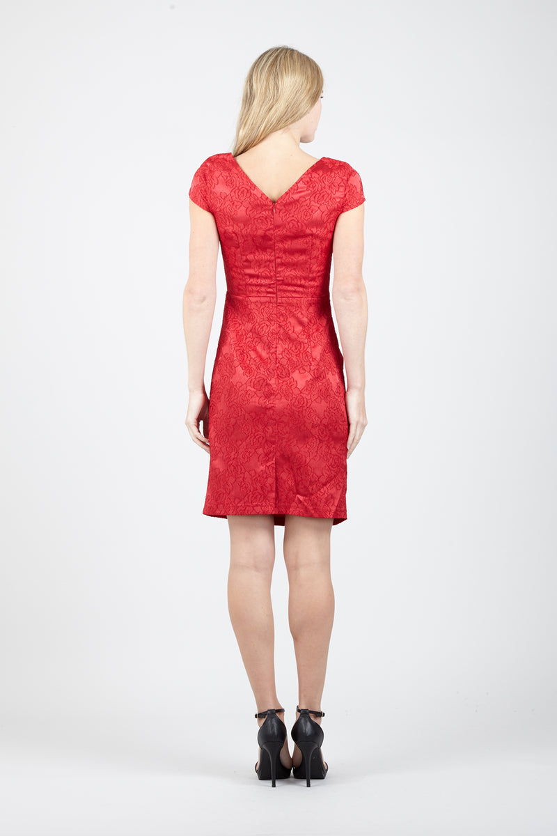 Red | Baroque Cut Out Shift Dress