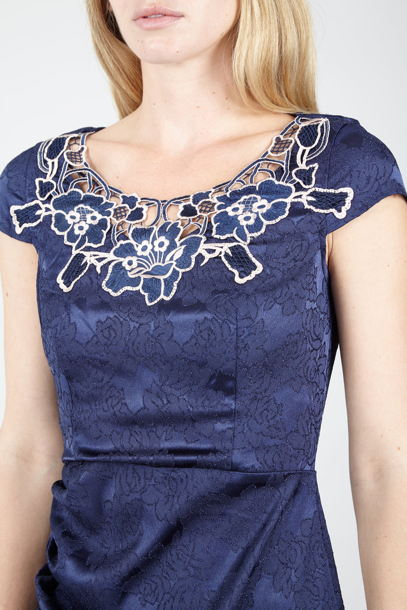 Navy | Baroque Cut Out Shift Dress
