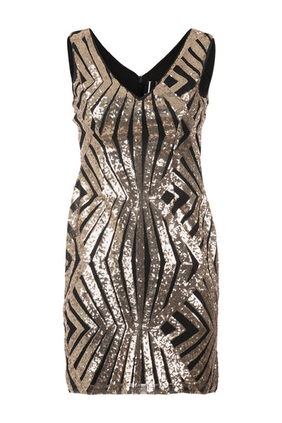 Aztec Plunge Sequin Dress - Izabel London