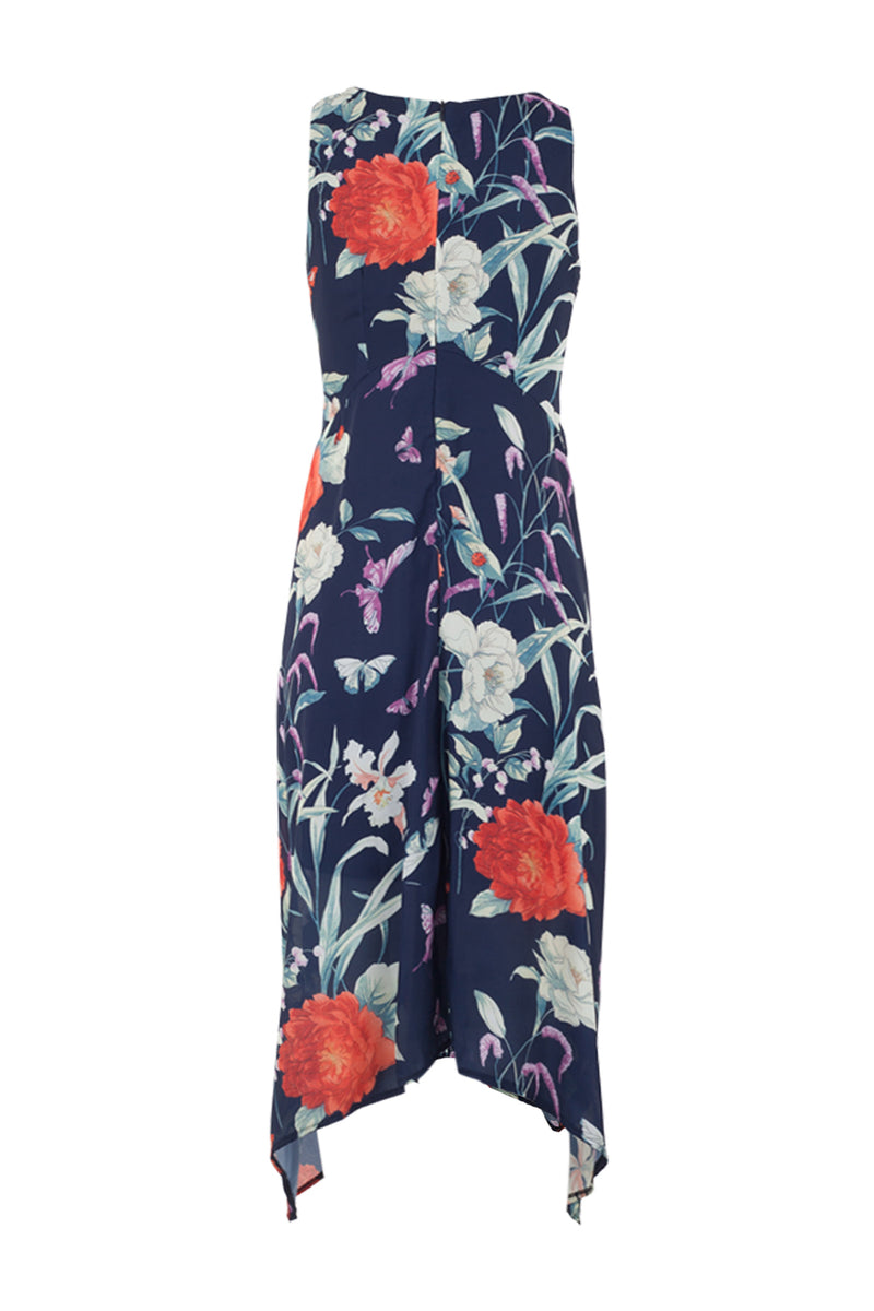 Navy | Floral Dip Hem Dress