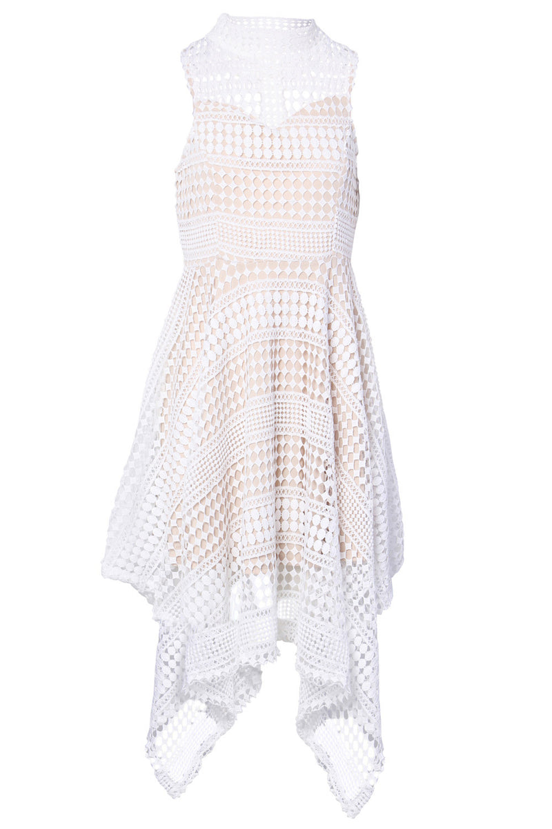 White | Lace Hanky Hem Dress