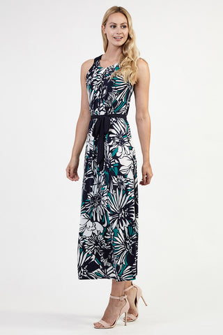 High Neck Lace Front Maxi Dress
