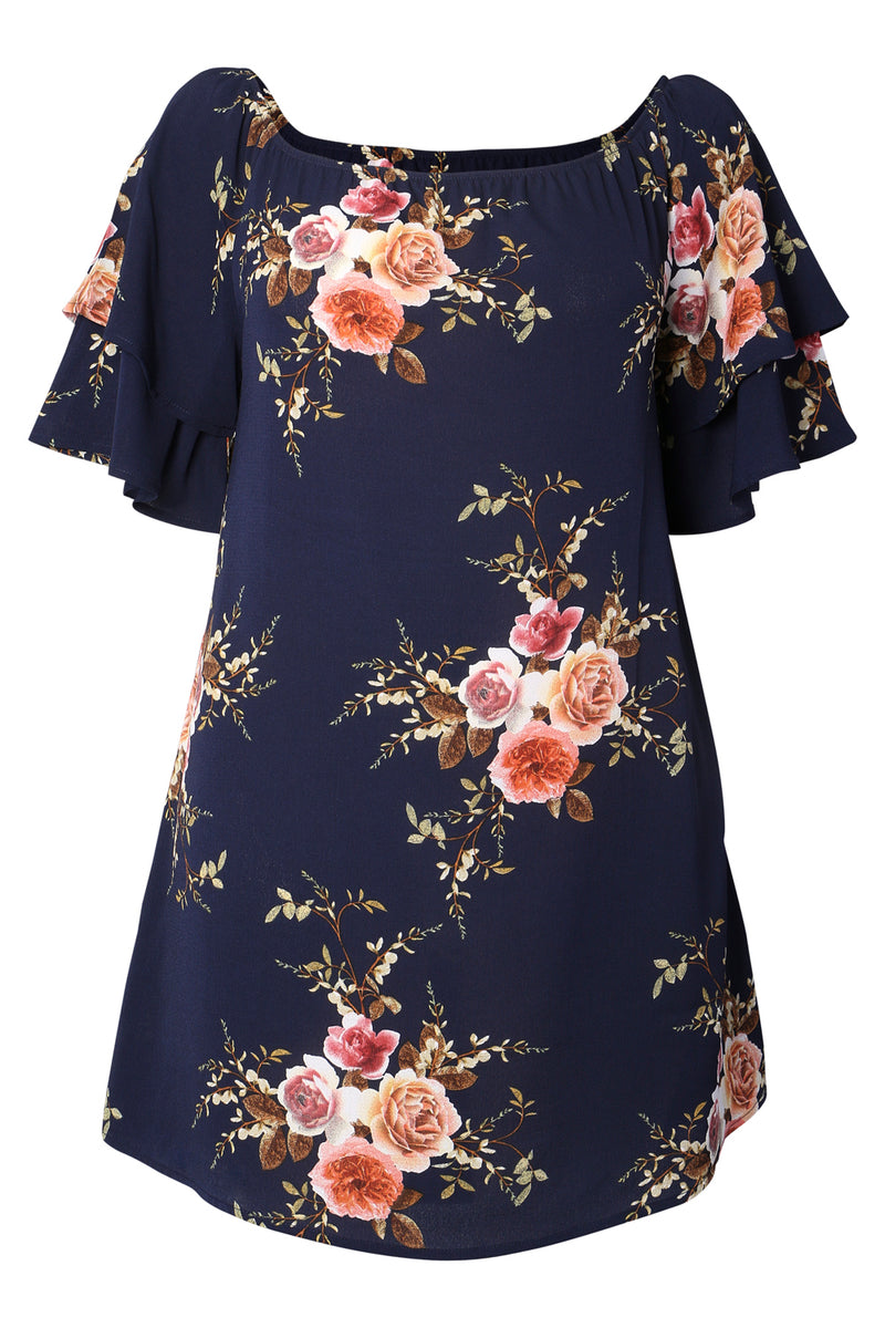 | Curve Floral Bardot Dress | Izabel London